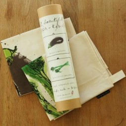 Pair Tea Towels in Tube - Aubergine & Broccoli