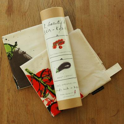 Pair Tea Towels in Tube - Aubergine and Tomatoes