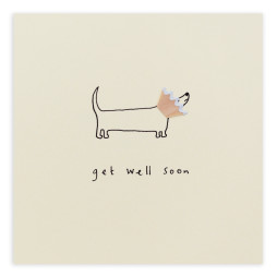 Pencil Shavings Cards - Get Well Dog Cone