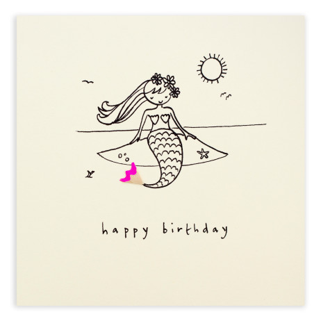 Pencil Shavings Cards - Birthday Mermaid