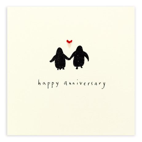 Pencil Shavings Cards - Anniversary Penguin